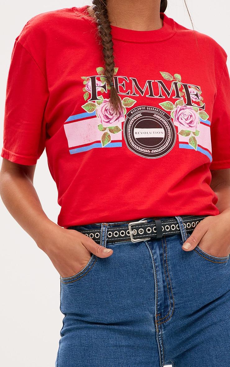 Red Femme Slogan Rose Oversized T Shirt 5