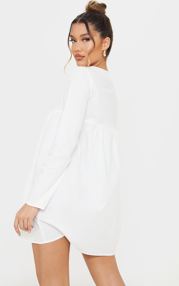 White Linen Button Down V Neck Shift Dress 2