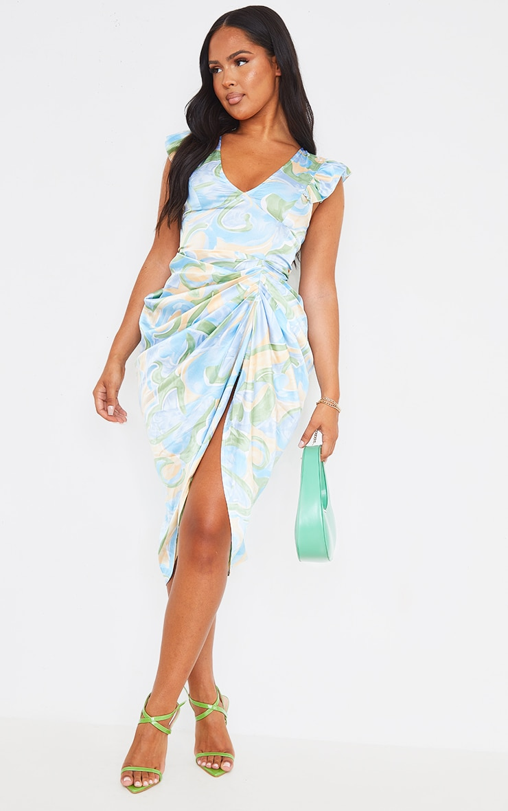 Blue Abstract Print Satin Buttoned Draped Midi Dress 3