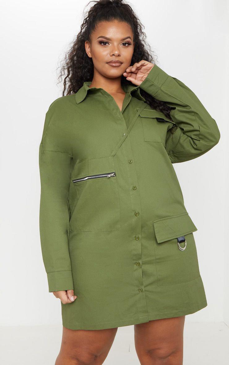 Plus Khaki Oversized Cargo Shirt Dress 1
