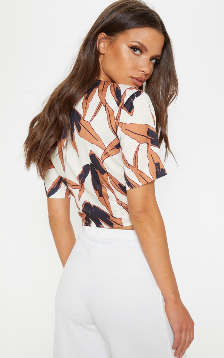 Black Tropical Chiffon Twist Front Short Sleeve Top 2