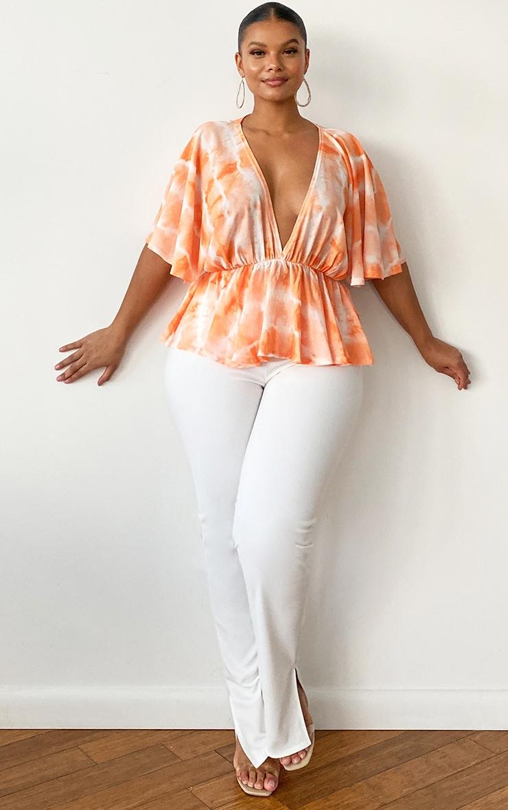 Plus Orange Tie Dye Plunge Short Sleeve Peplum Top 3