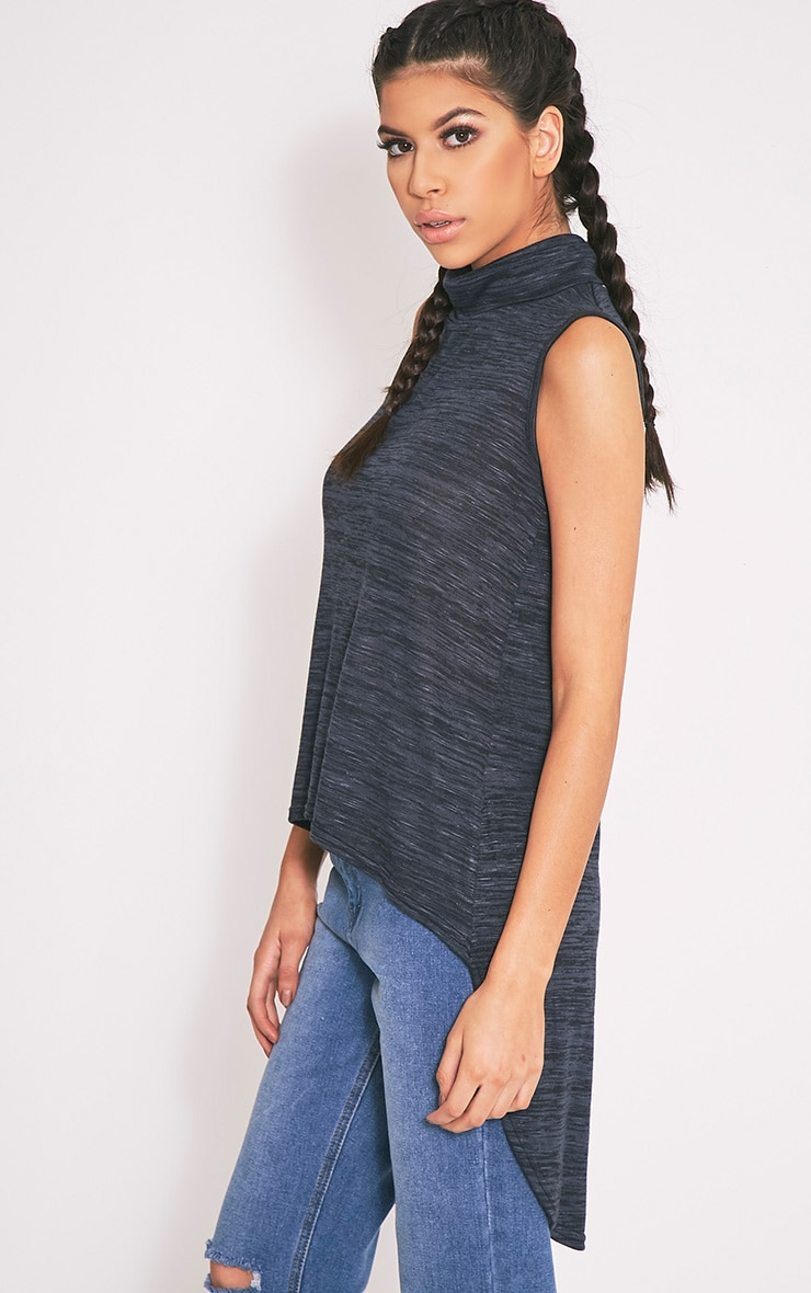 Miae Navy Fine Knit High Neck Top 3