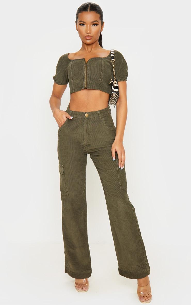 Khaki Cord Cargo Pocket Wide Leg Jeans 1