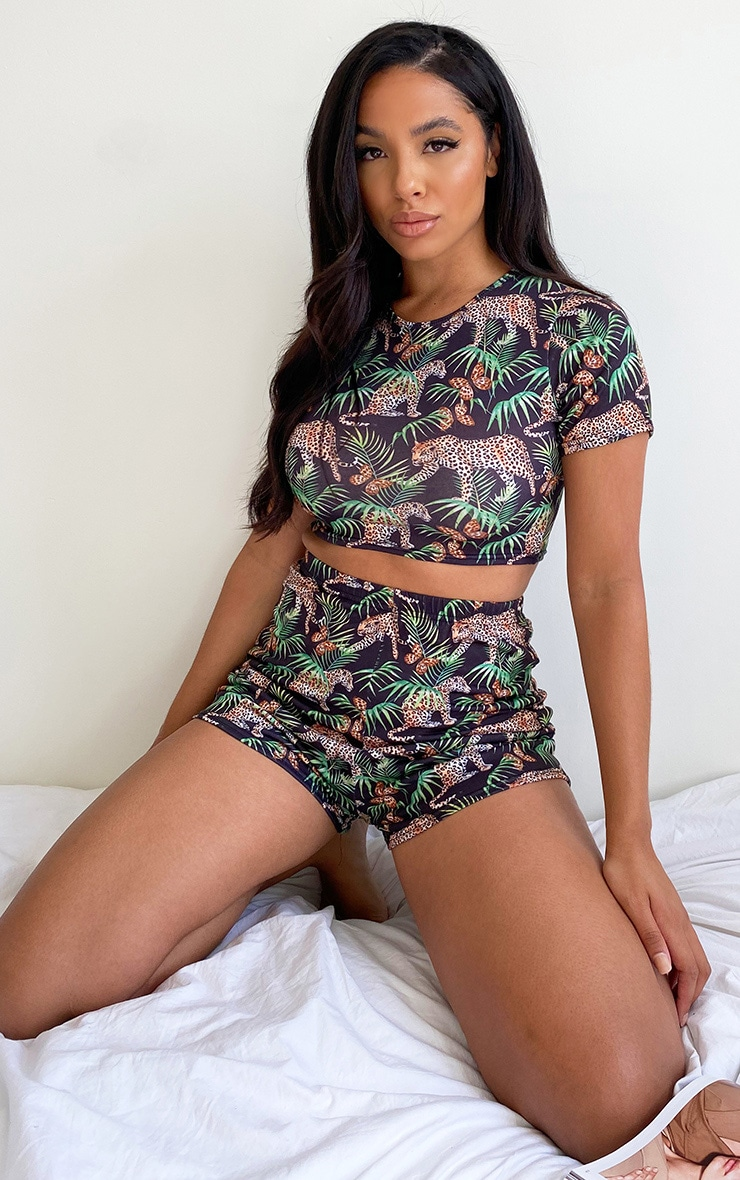 Black Tropical Leopard Print Shorts Pj Set 3