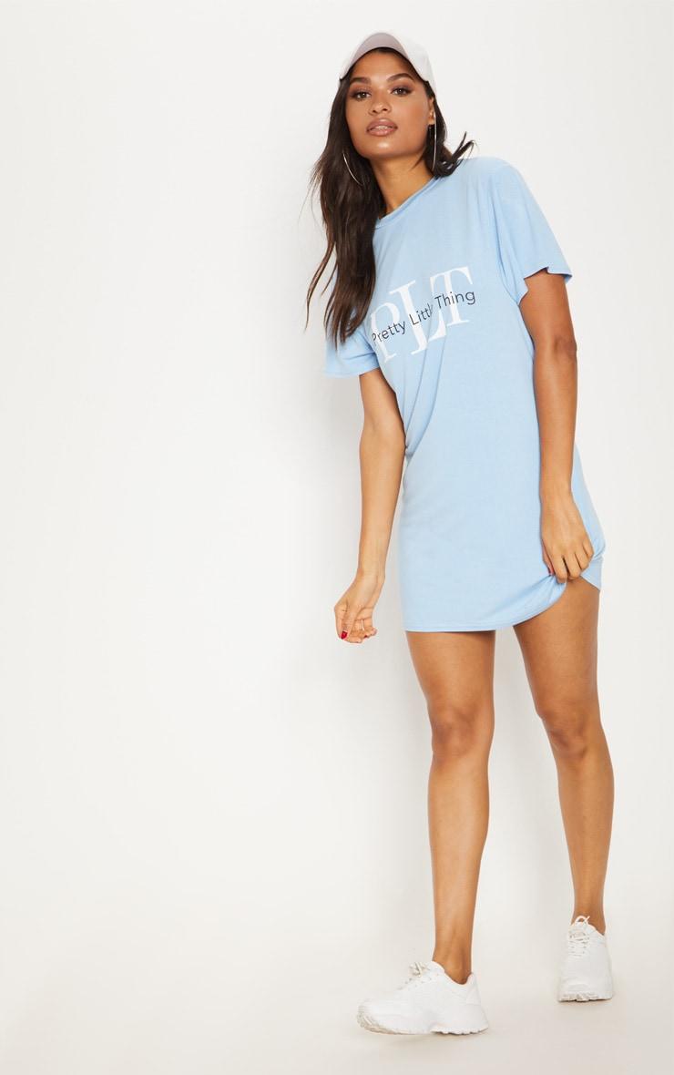 PRETTYLITTLETHING Dusty Blue Mirrored T Shirt Dress 4