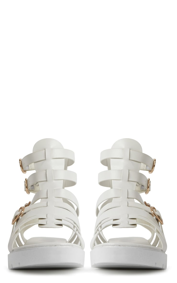 Kinsley White Gladiator Sandals With Cleated Sole  4