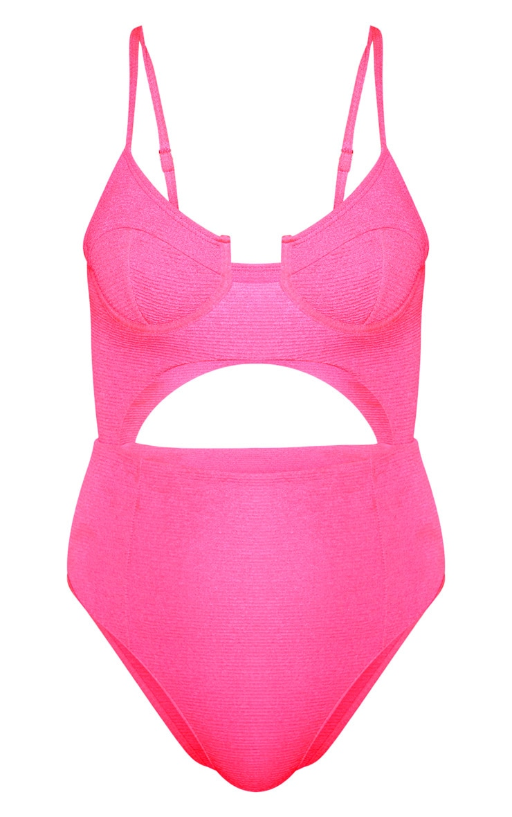 Neon Pink Mini Crinkle Underwired Cut Out Swimsuit 3