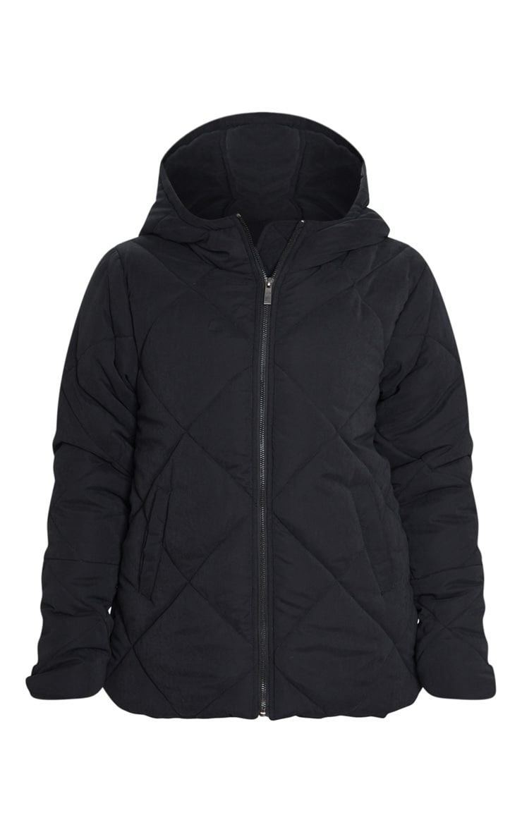 PRETTYLITTLETHING Black Peach Skin Diamond Quilted Oversized Puffer 5