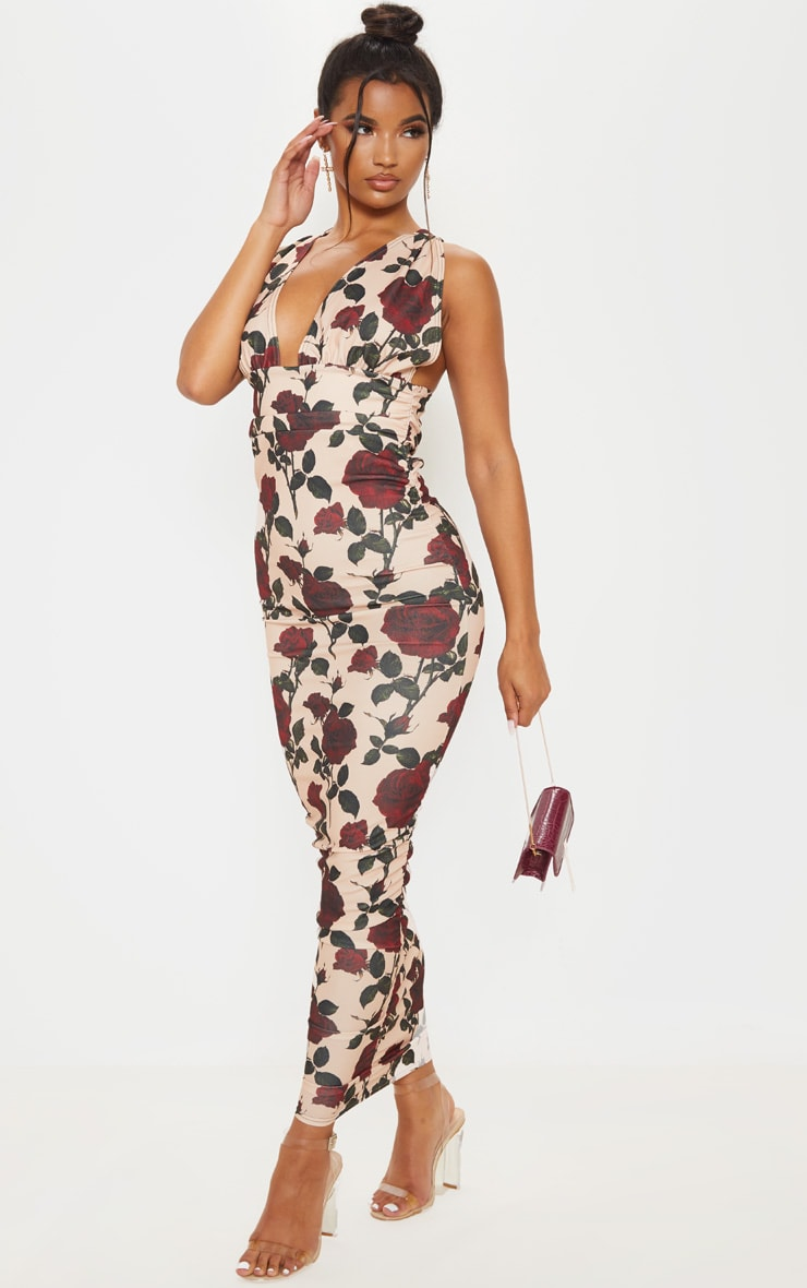 Cream Rose Print Deep Plunge Ruched Midaxi Dress 1