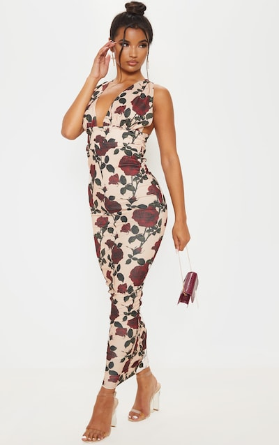 Cream Rose Print Deep Plunge Ruched Midaxi Dress