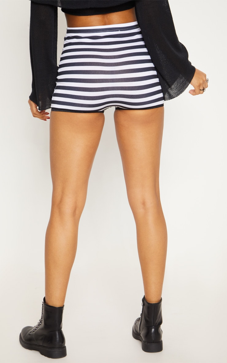Black High Waisted Stripe Hot Pant 4
