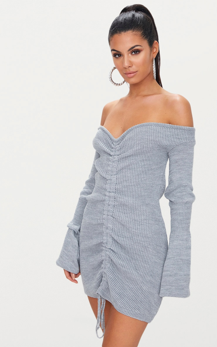 Grey Ruched Knit Dress
