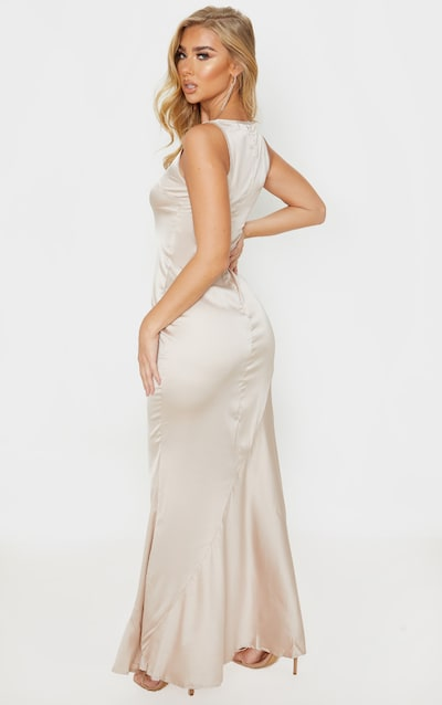 Champagne Satin Cup Detail Sleeveless Maxi Dress
