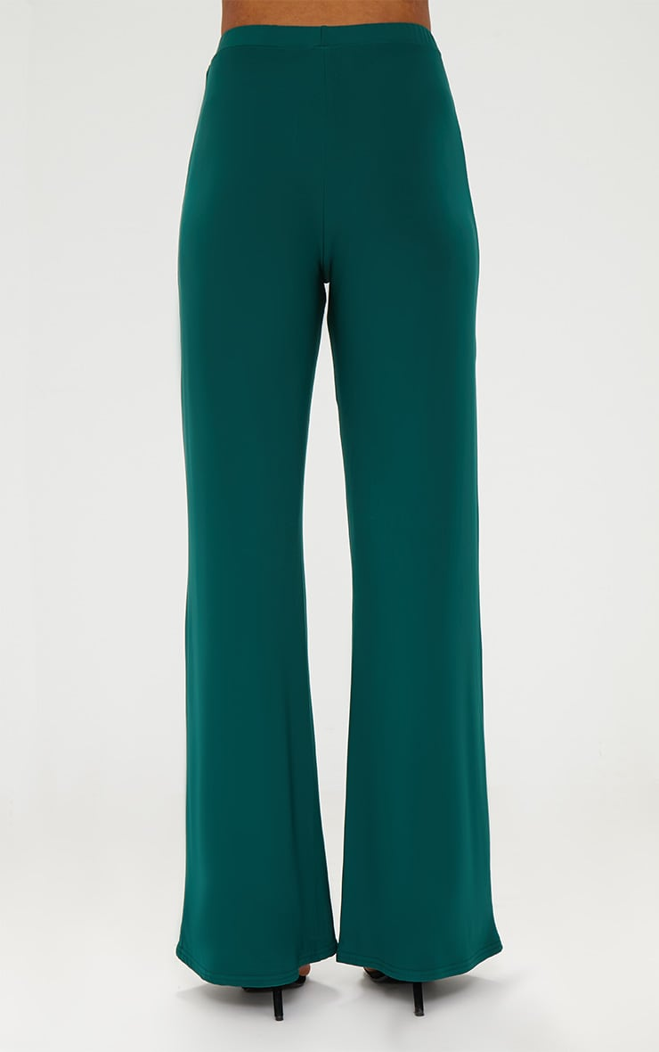 Forest Green Slinky Palazzo Trousers 4