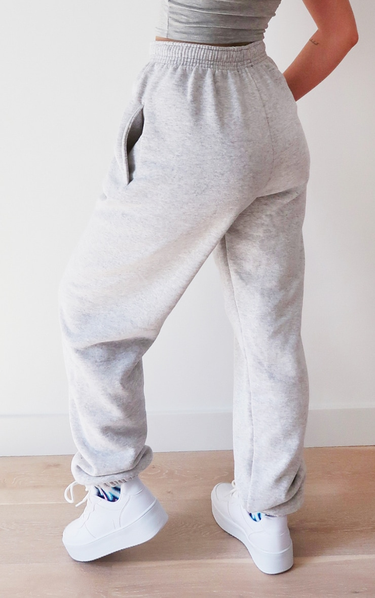 PRETTYLITTLETHING Ash Grey Embroidered Joggers 3