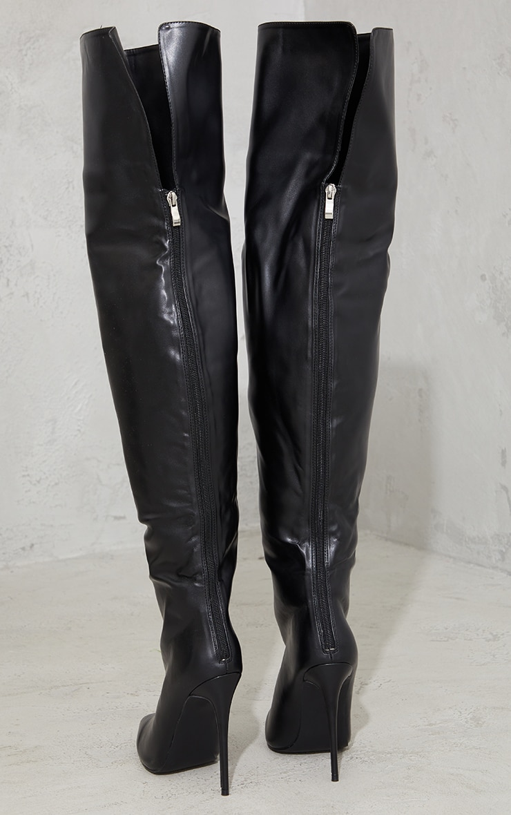 Black Faux Leather Pointed High Heel Over The Knee Boots 4