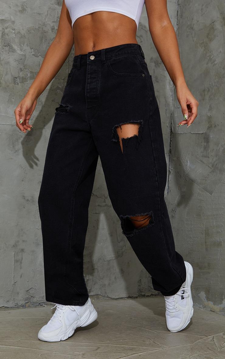 PRETTYLITTLETHING Washed Black Open Knee Boyfriend Jeans 2