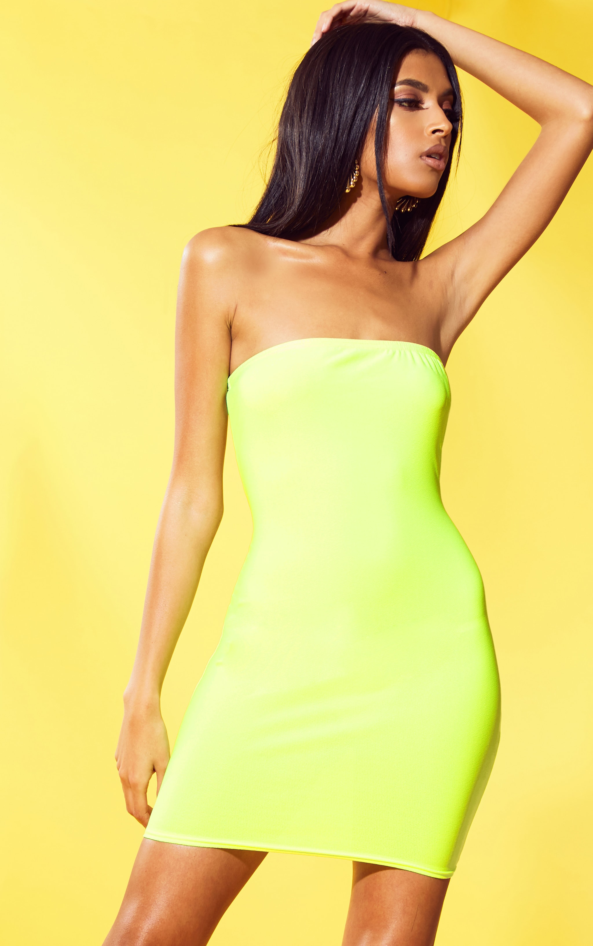 Neon Yellow Crepe Bandeau Bodycon Dress 1