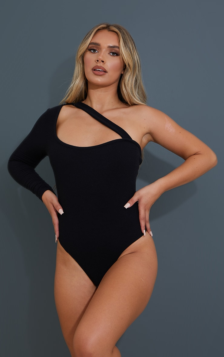 Black Crinkle Rib Asymmetric Bodysuit 2