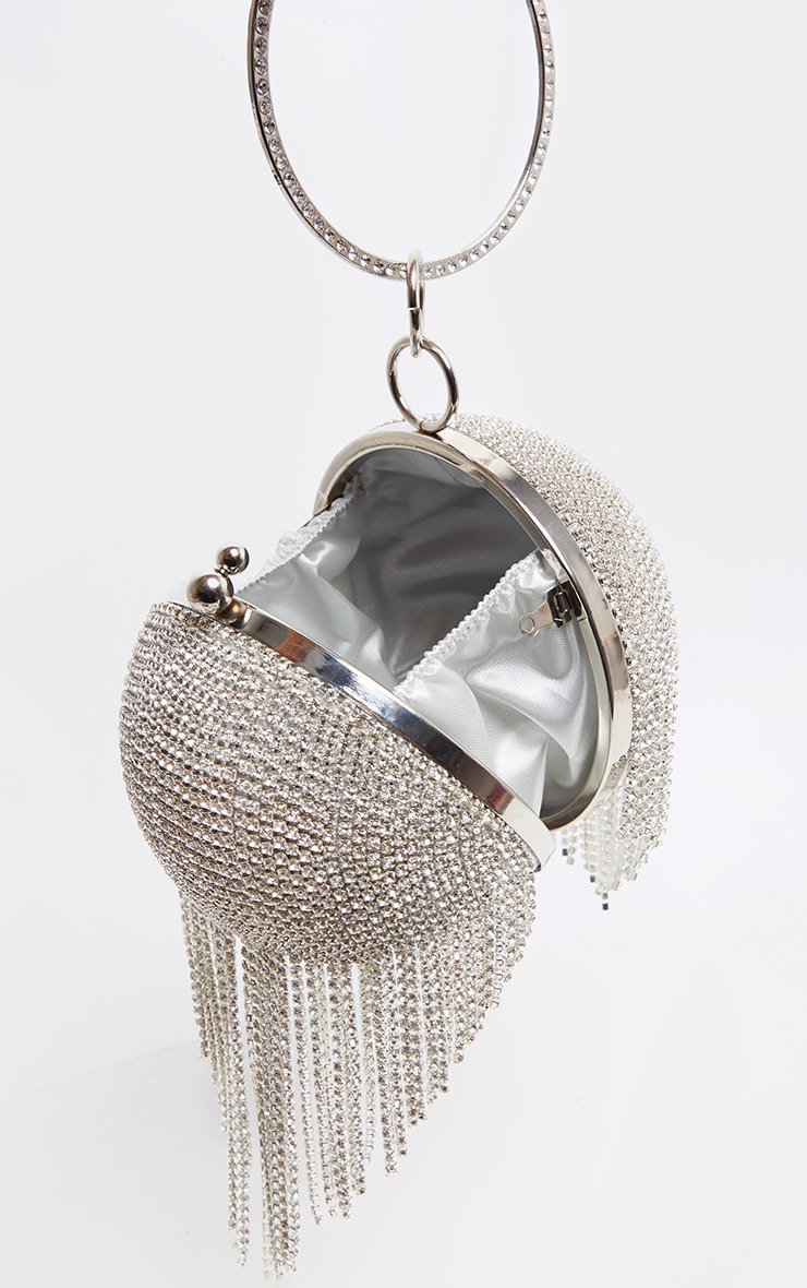 Silver Diamante Tassel Sphere Clutch 3