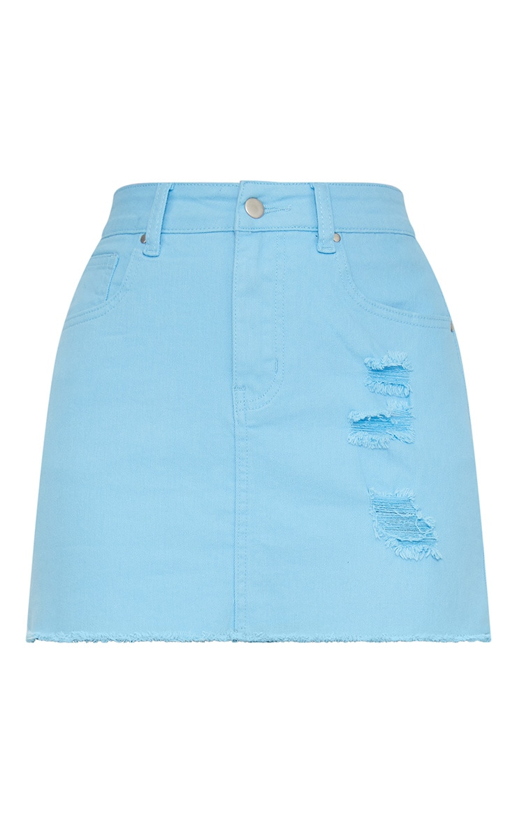 Baby Blue Distressed Denim Mini Skirt 3