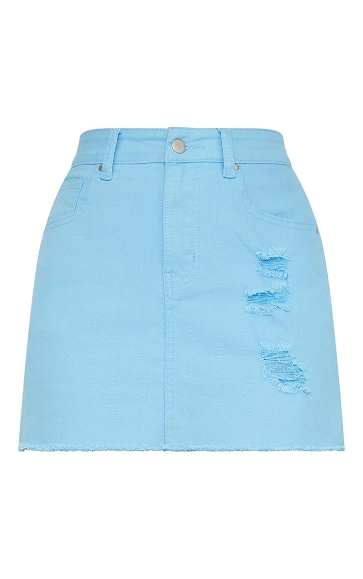 Mini-jupe en jean bleu pâle déchirée  3
