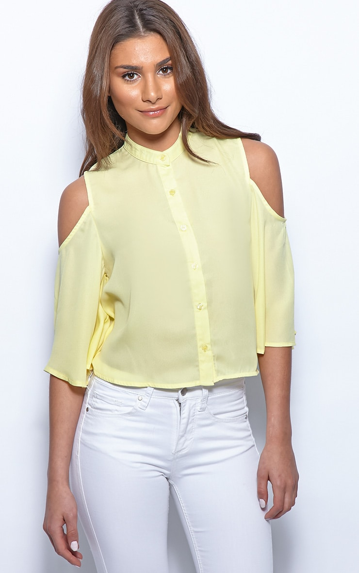 Laurie Yellow Chiffon Cut Out Cropped Shirt 5