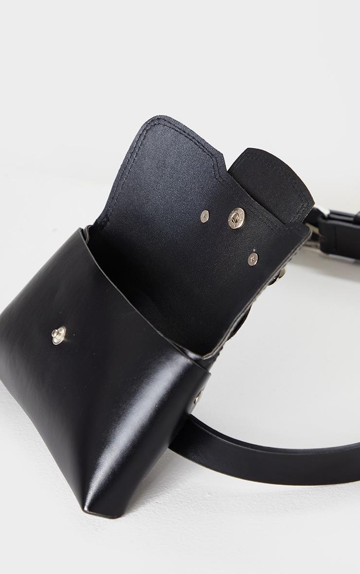 Black PU Chain Detail Belt Bag 4