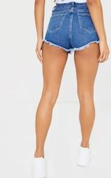 PRETTYLITTLETHING Mid Blue Wash Frayed Hem Denim Shorts 3
