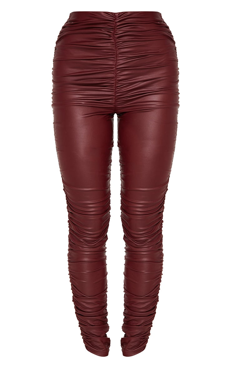 Maroon Coated Ruched Side Legging 3