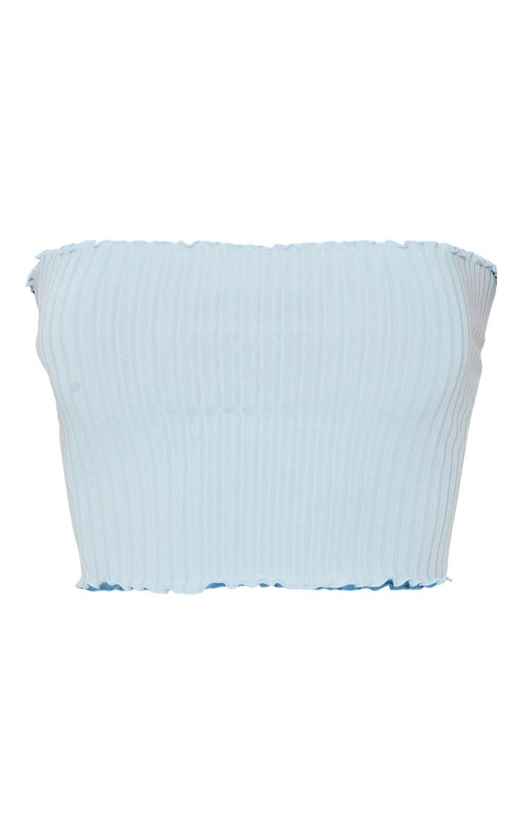 Baby Blue Rib Frill Hem Bandeau Crop Top 3