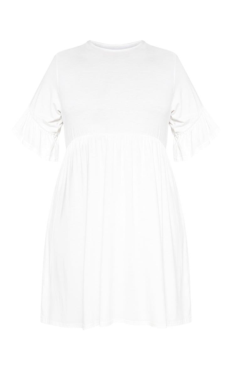 Plus White Frill Detail Smock Dress 3