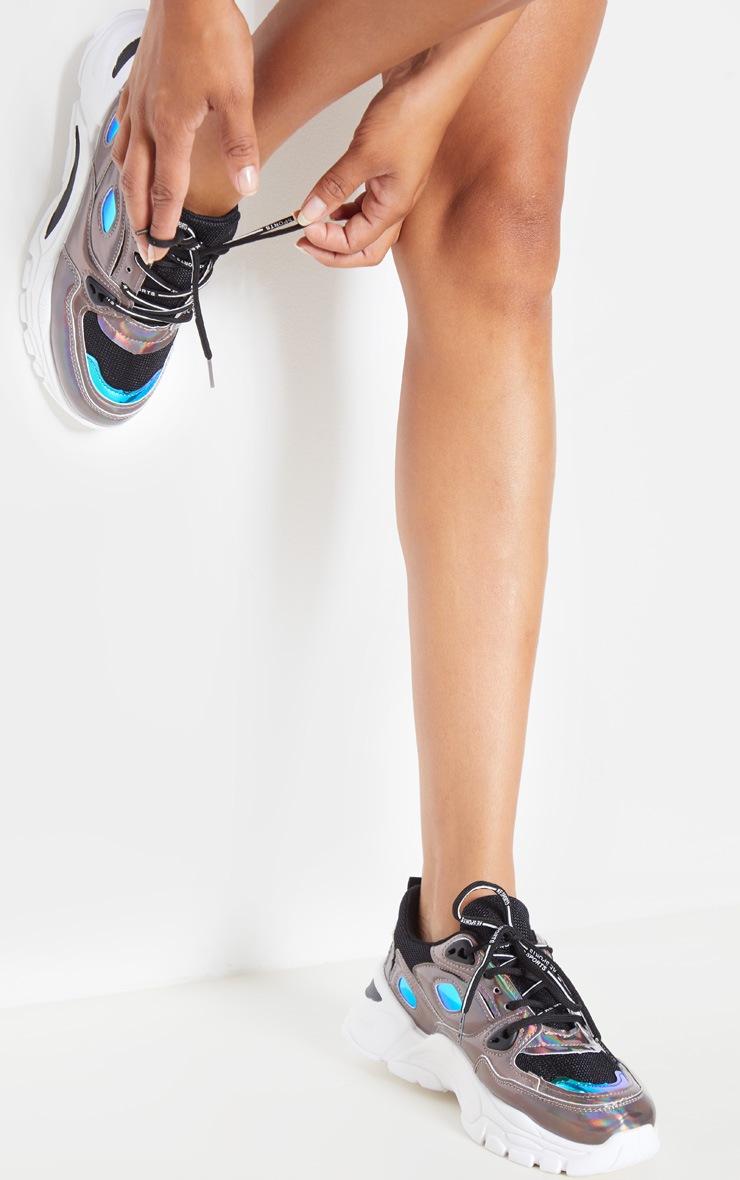 Pewter Holographic Metallic Sneakers 2