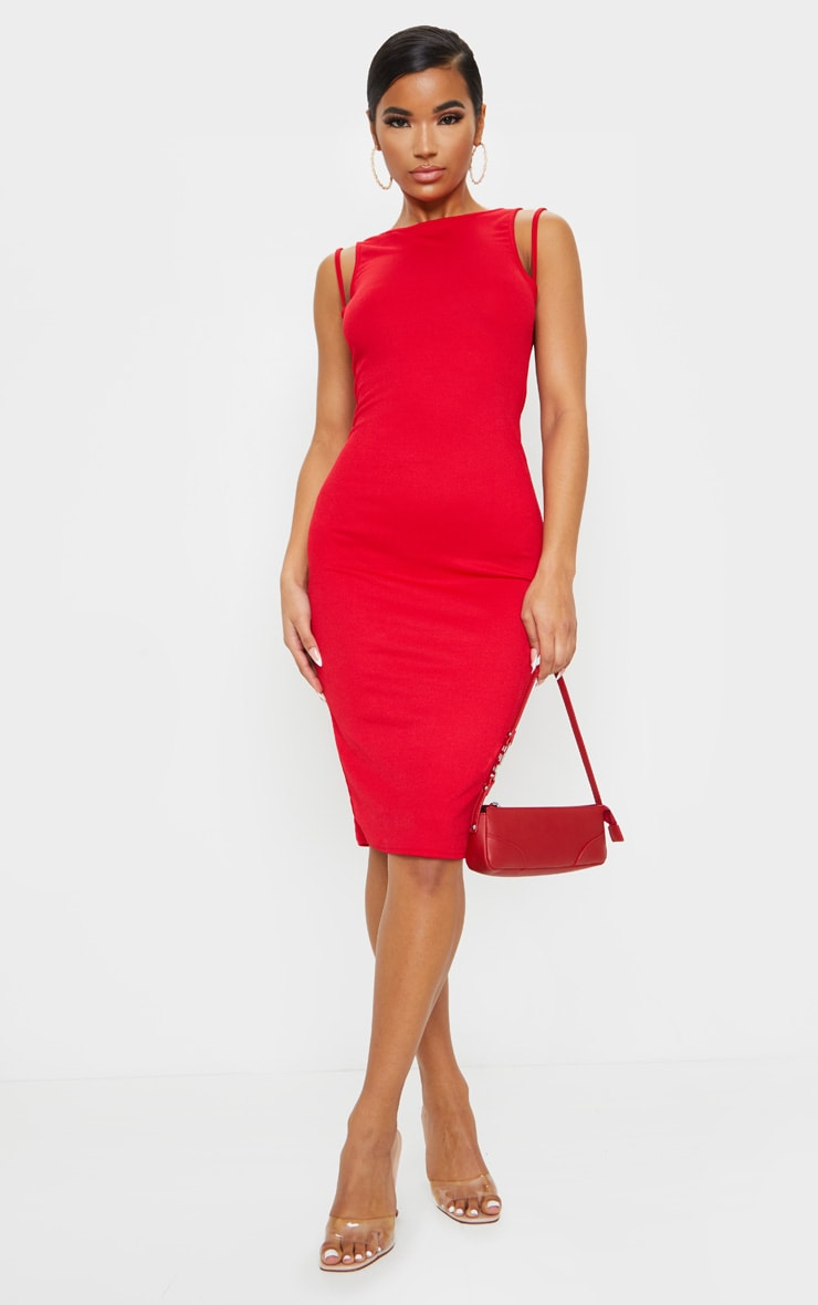 Red Sleeveless Strap Cut Out Midi Dress 3