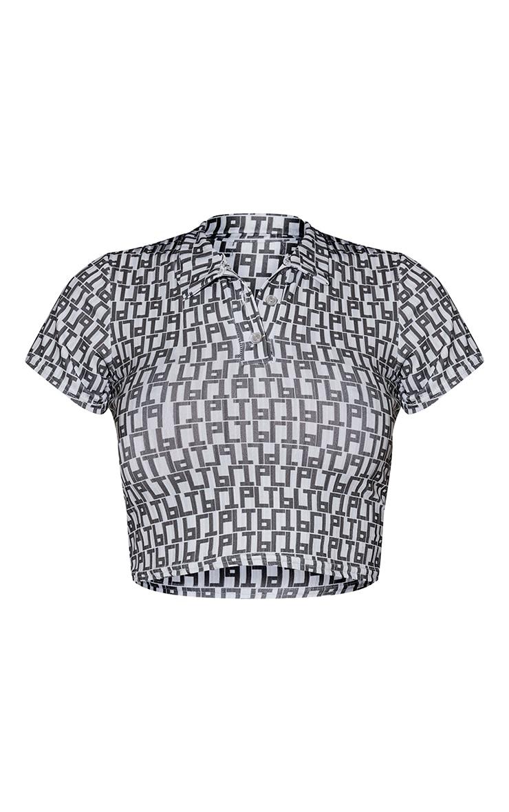 PRETTYLITTLETHING Black Monogram Rib Crop Polo Shirt 5