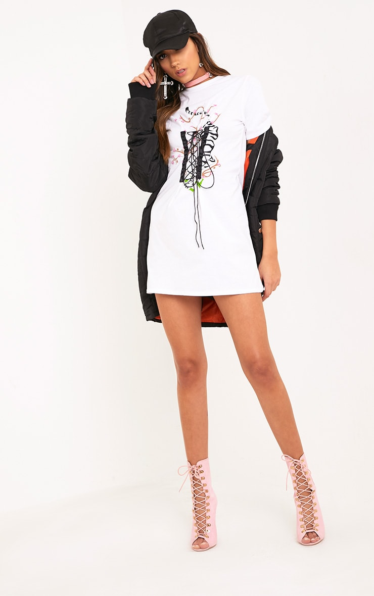 Tiger Print White Corset T Shirt Dress  4