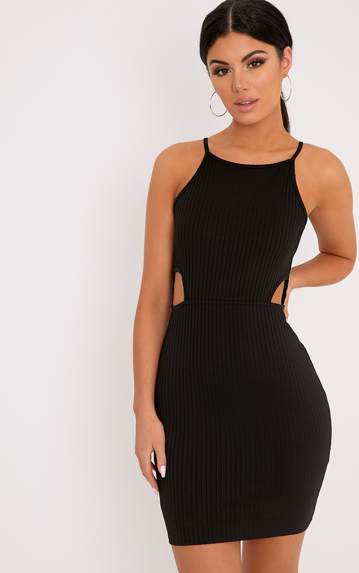 Mireille Black Ribbed Cut Out Bodycon Dress 4