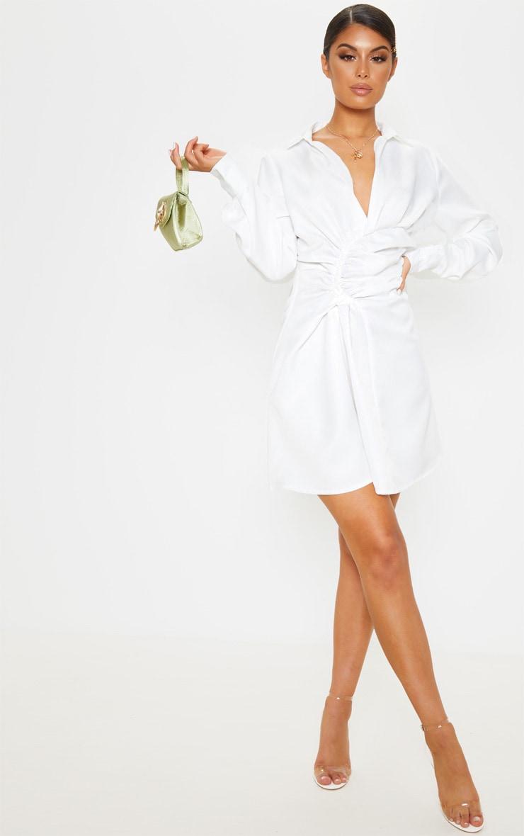 White Ruched Waist Detail Shirt Dress 1