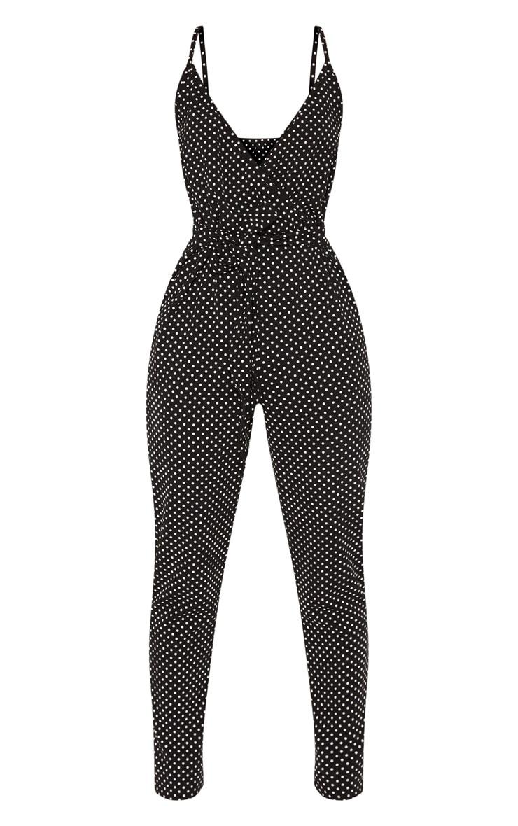 Black Polka Dot Strappy Plunge Jumpsuit 3