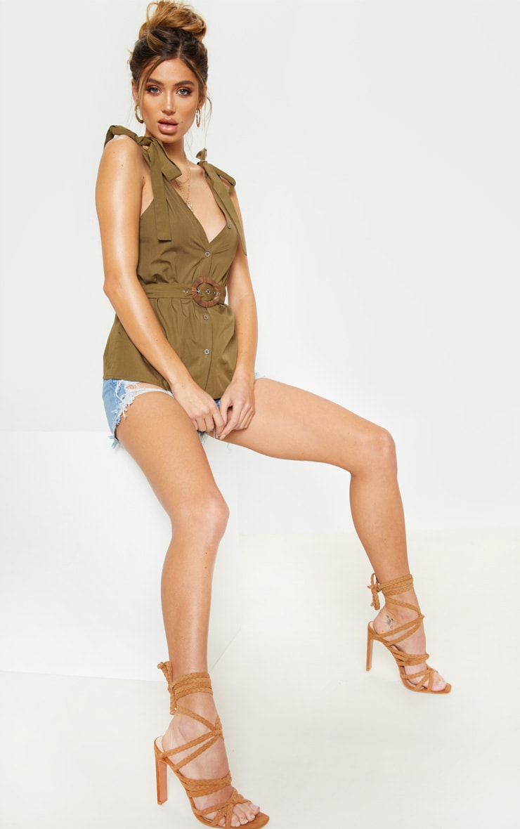 Khaki Sleeveless Belted Button Front Top 4