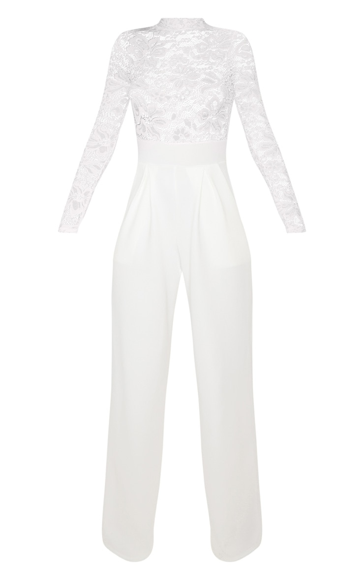 White Lace High Neck Long Sleeve Jumpsuit 3