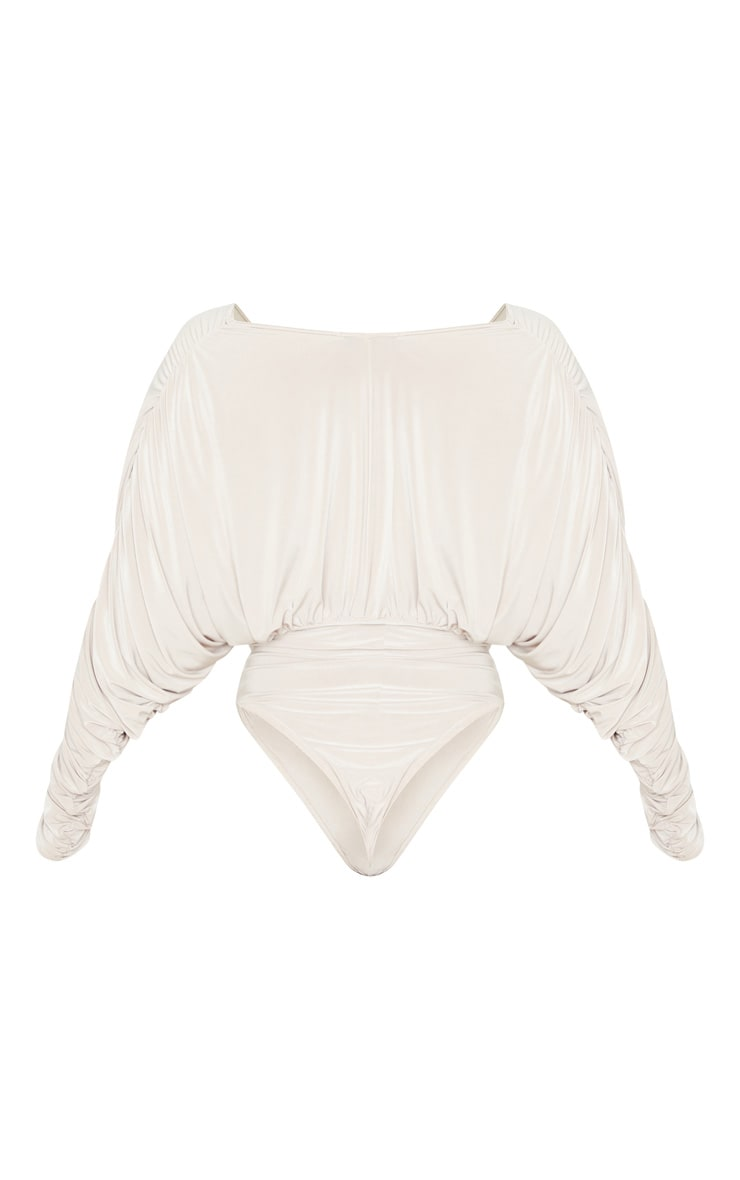 Champagne Slinky Ruched Draped Sleeve Deep Plunge Bodysuit 4