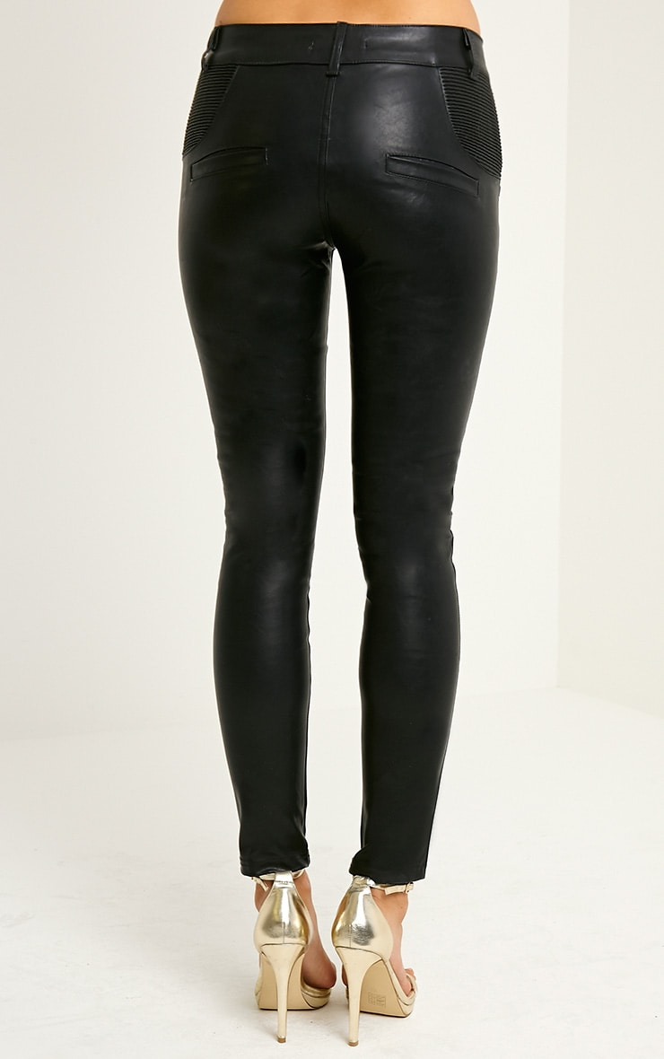 Madden Black Zip Pocket PU Trousers 4