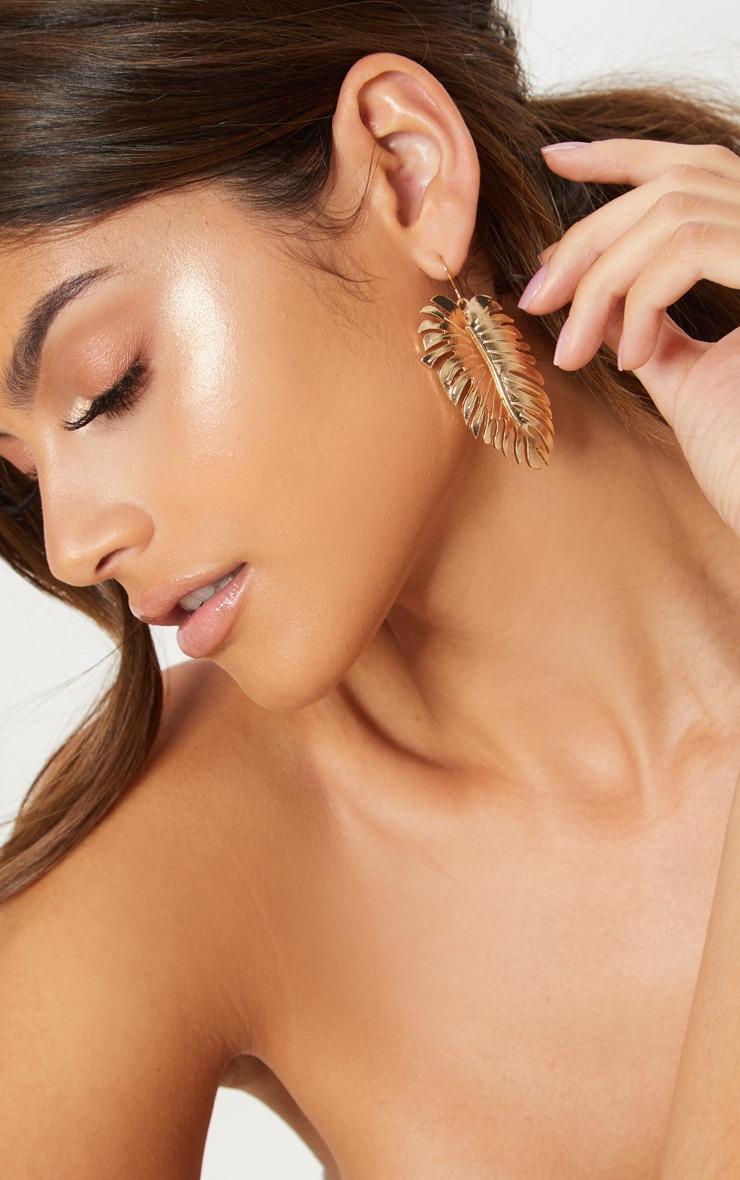 Gold Leaf Drop Earrings 3
