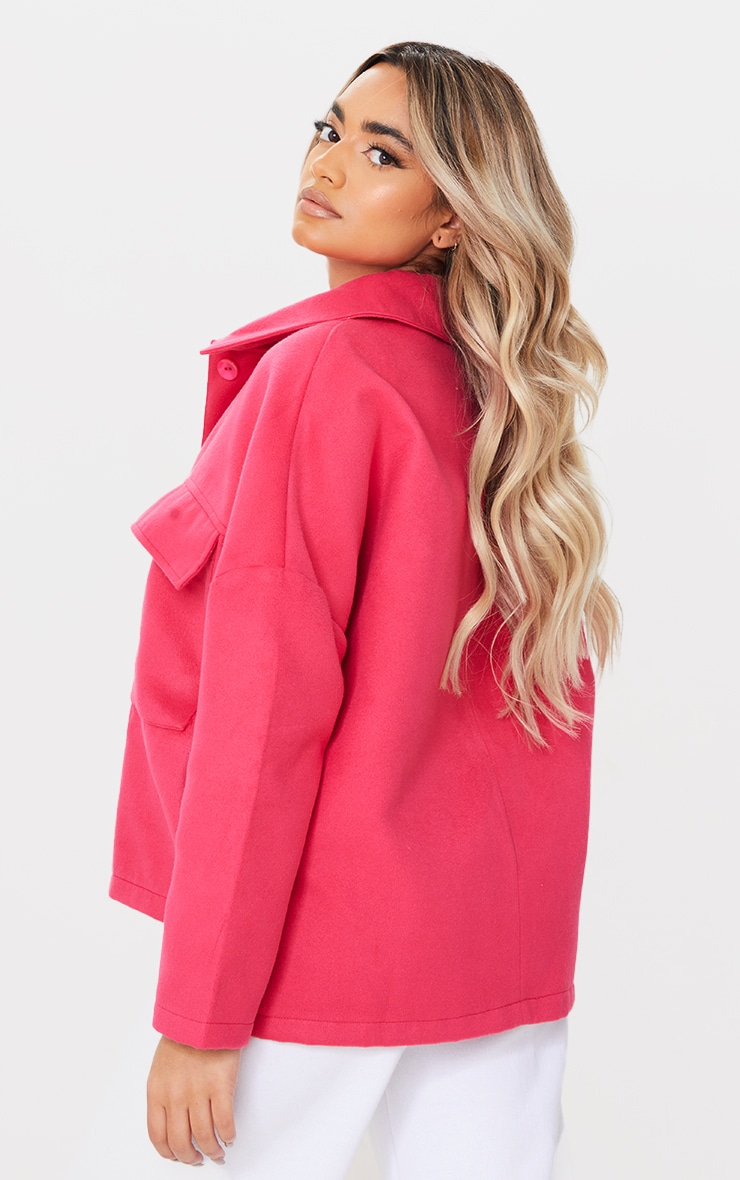 Petite Pink High Low Oversized Shacket 2