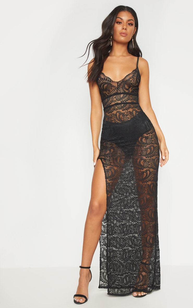 Black Sheer Lace Extreme Split Maxi Dress