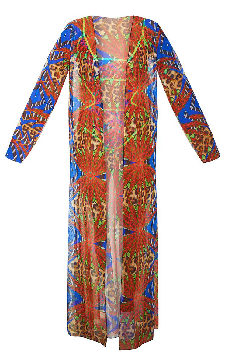 Plus Multi Mixed Jungle Print Mesh Kimono 3