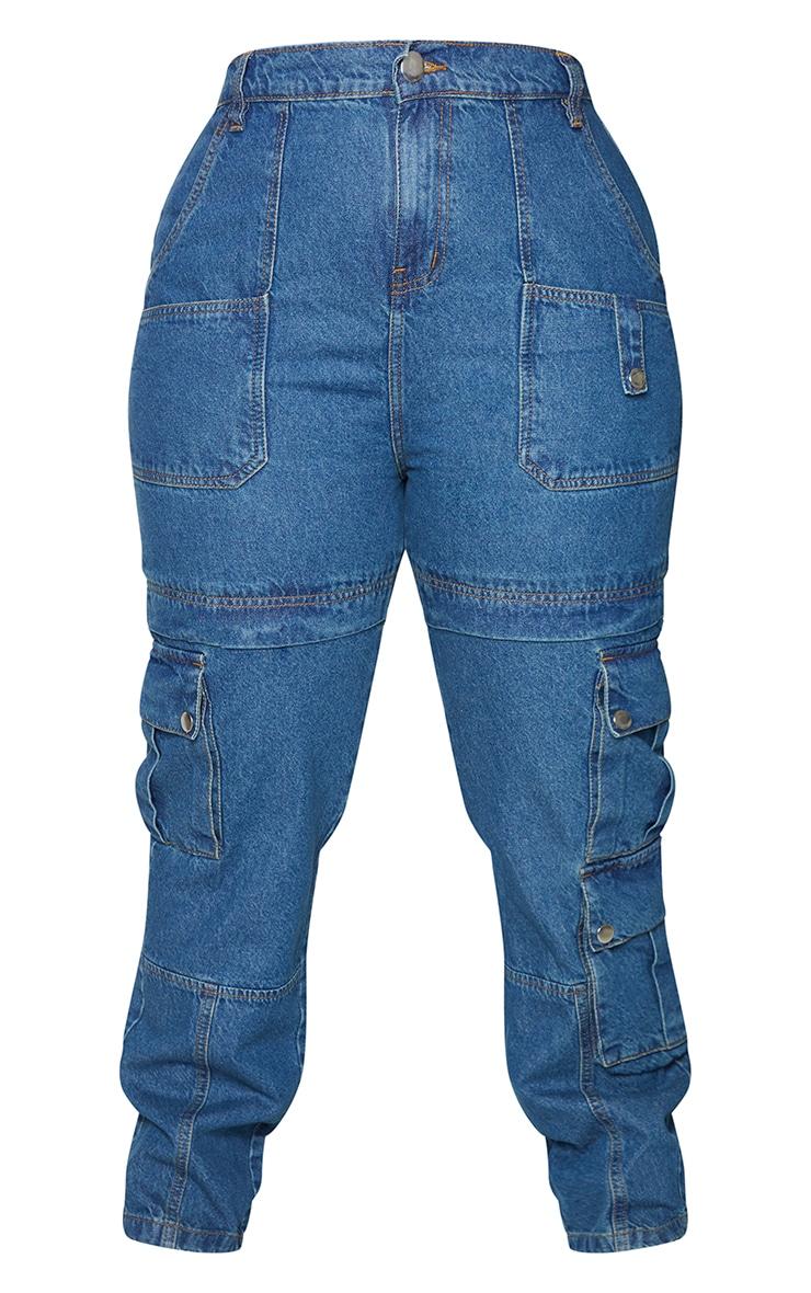 Plus Mid Blue Wash Cargo Pocket Detail Jeans 5