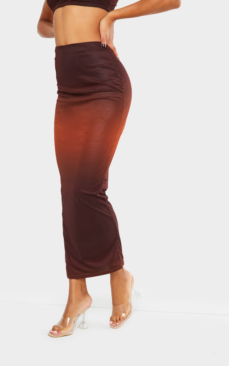 Burnt Orange Mesh Overlay Midaxi Skirt 2